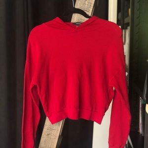 Forever 21 Red Cropped Long Sleeve Hoodie